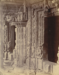 Close view of sculpture on doorways and pillars, Bajramath Temple, Gyaraspur, Bhopal State